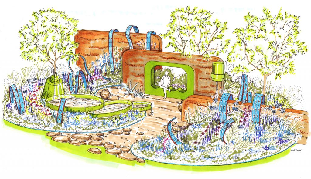 A visual of the Ecover Garden at the RHS Hampton Court Palace Show
