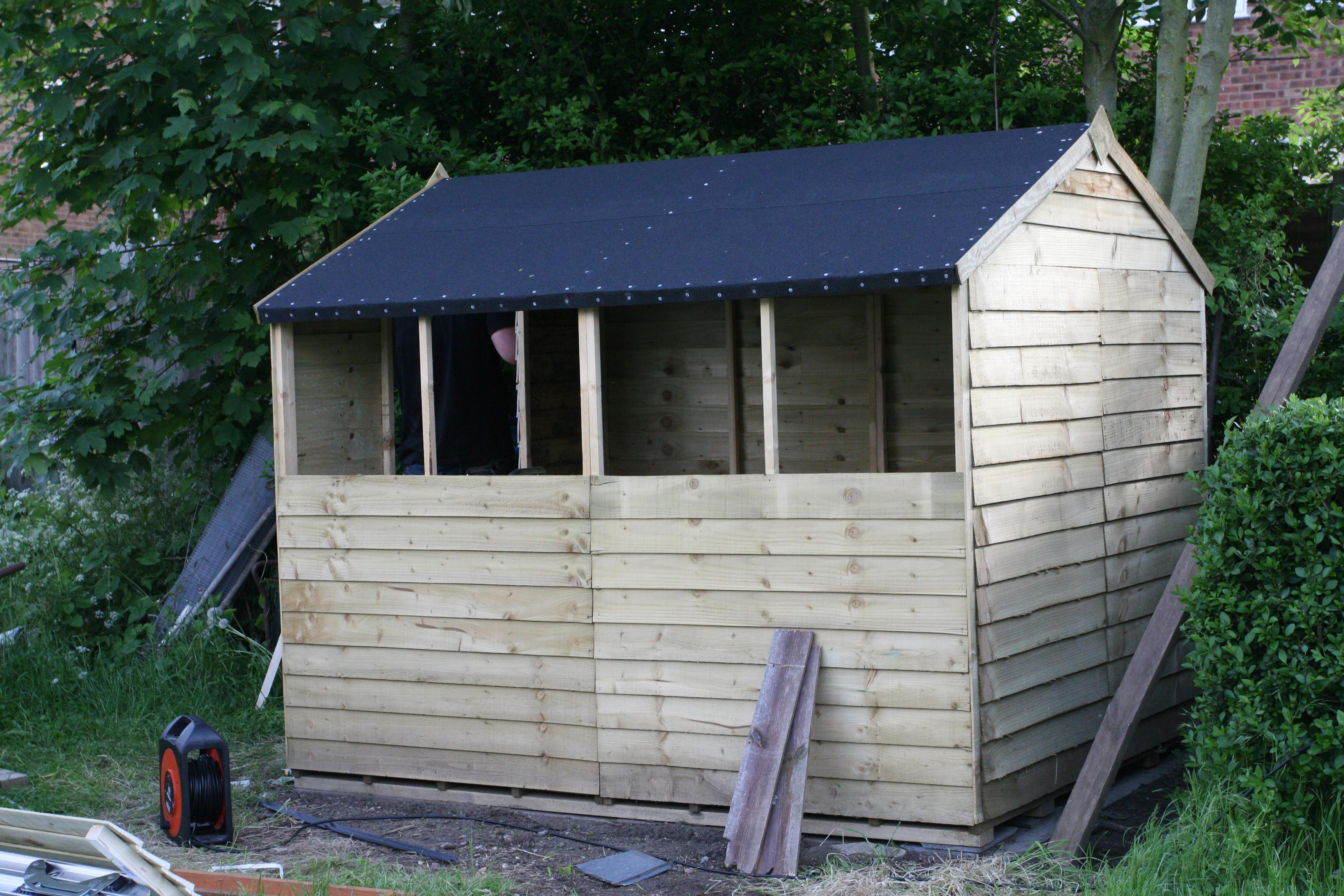 a new blue shed. Black Bedroom Furniture Sets. Home Design Ideas