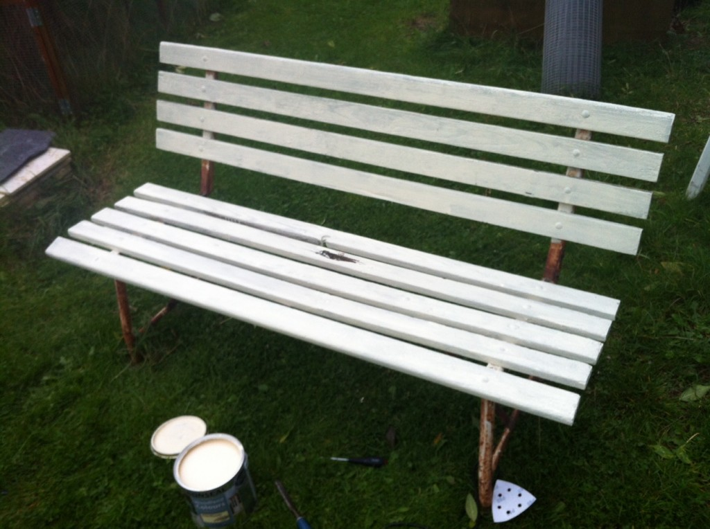 First coat of paint on the bench