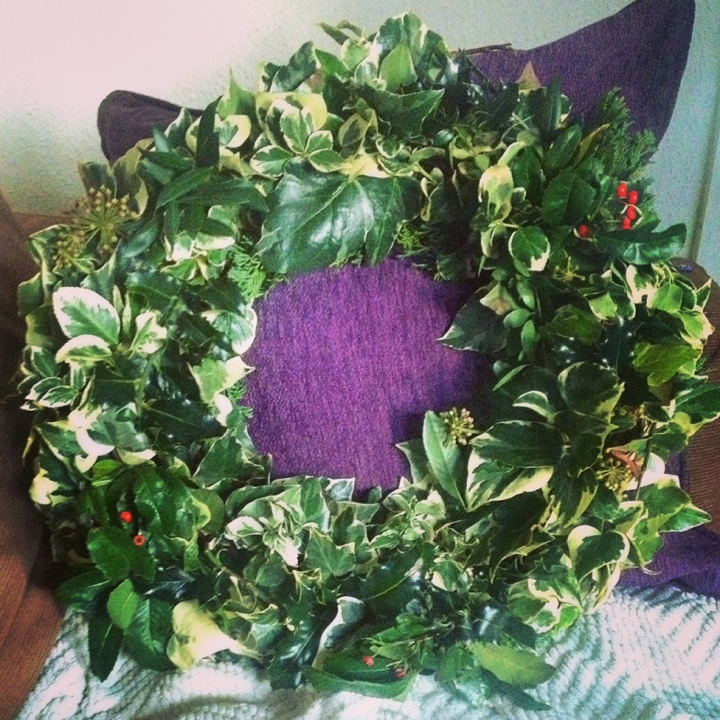 Homemade frugal christmas wreath