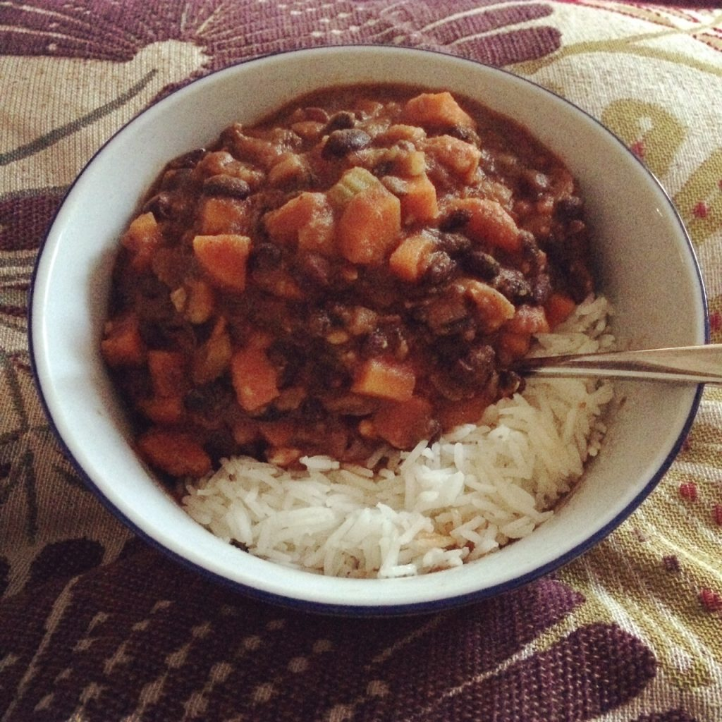 Black bean and sweet potato spicy stew