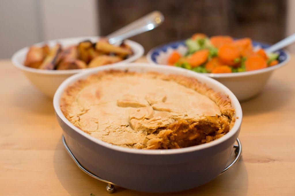 Lentil squash vegan pie